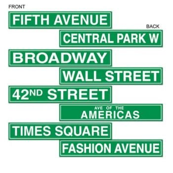 Beistle 50094 4-Pack NYC Street Sign Cutouts, 4-Inch by 24-Inch]()