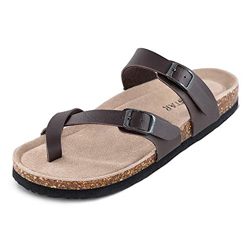 TF STAR Adjustable Mayari Flat Leather Casual Brown Sandals for Women & Ladies, Youth Suede Slide Cork Footbed for Teenagers/Girls