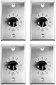 4 Rockville VOL70100 100w 70v Stainless Wall Volume Control Zone Controllers