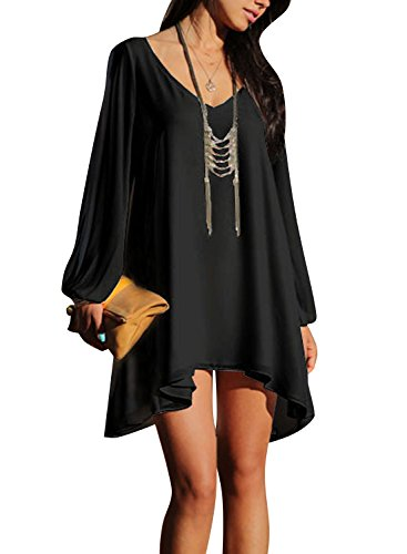 Viwenni Sexy Womens V-Neck Loose Irregular Hem Summer Chiffon Short Beach Dress,XX-Large,Black