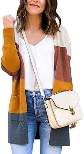 ECOWISH Womens Color Block Striped Draped Kimono Cardigan Long Sleeve Open Front Casual Knit