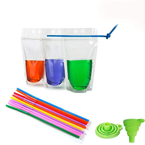 (Drink Pouches Smoothies Bag No Leakage Drink Pouches Bags Heavy Duty Hand-held Translucent Reclosable Zipper Stand-up Plastic Pouches Bags Set of 50pcs with Flexible Straws and Funnel)