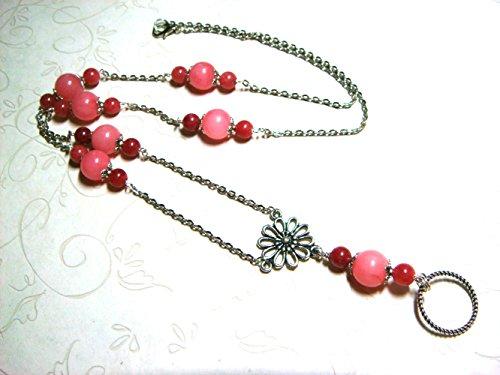 BEADED LANYARD NECKLACE Pink Jade Floral Flowers Glasses Keys Badge Holder Gemstone Metaphysical Specklace Teacher Nurse Doctor Gift