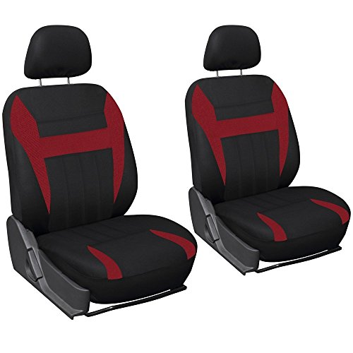 OxGord Car Seat Cover Flat Cloth Bucket Set for Car, Truck, Van, SUV - Black, Red