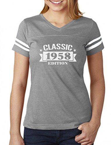 Tstars - Classic 1958 Edition - 60th Birthday Gift Women Football Jersey T-Shirt Large Gray/White -