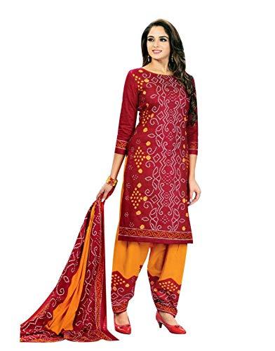 - Ladyline Readymade Bandhej Printed Pure Cotton Salwar Kameez Dress Indian (Size_44/ Dark Red)