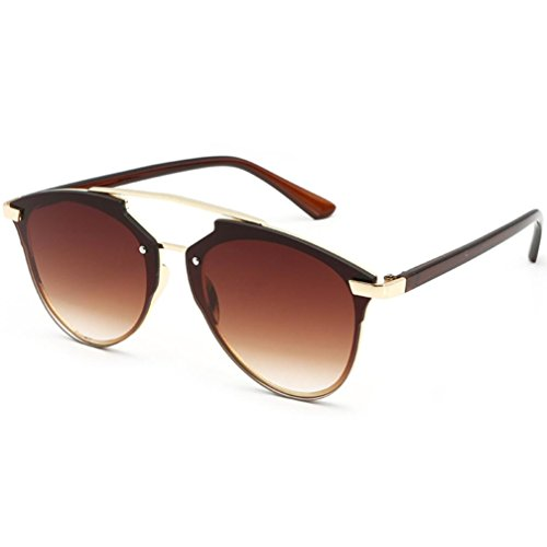 Sunglasses for Women,TIFENNY Fashion Metal Frame Cat Eye Mirrored Flat Lenses Anti-Reflection Driving Glasses - Thin Sunglasses Face Long For Best