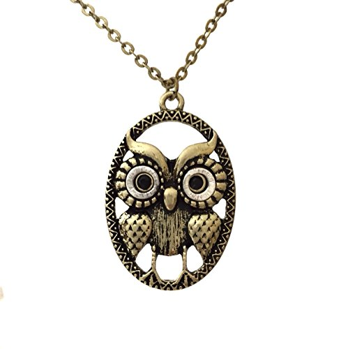 Cute Owl in Oval Burnished Gold Tone Small Simple Dainty Necklace