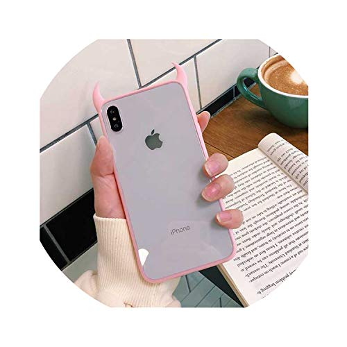 outdoor-mm Cute Devil Horn Case for iPhone Xs Max XR XS 6 6S 7 8 Plus Full Body Protective Acrylic Phone Back Cover Cases Gift,Pink,for iPhone X (Iphone 6 Devils Hockey Case)