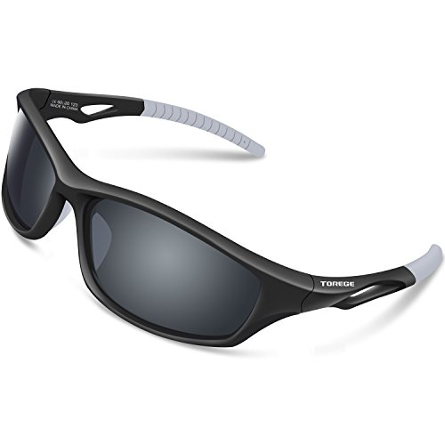 Affordable Sunglasses Revo (TOREGE Polarized Sports Sunglasses for Men Women for Cycling Running Fishing Golf TR90 Unbreakable Frame TR010-1 (Black&White Tips&Grey Lens))