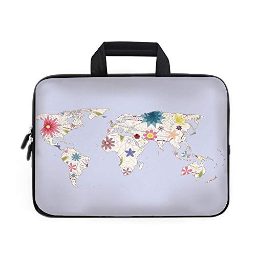 Atlas Travel Case (Floral World Map Laptop Carrying Bag Sleeve,Neoprene Sleeve Case/Retro Style Map with Pastel Toned Blossoms Kids Girls Atlas Illustration Decorative/for Apple Macbook Air Samsung Google Acer HP DELL L)