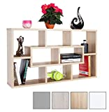 RICOO WM050-ES Wall Shelves Bookcase Floating Book Storage Hanging Rack Organiser Unit Racking Shelf Sonoma Oak Effect Wood