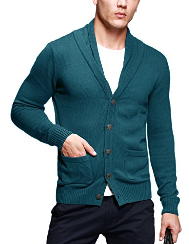 Match Men's Sweater Series Buttoned Cardigan #12088(US S (Tag size L),Heather (L/s Pullover Sweater)