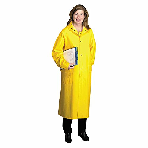 Polyester Raincoat, 0.35 mm PVC/Polyester, Yellow, 48 in, X-Large (6 Pack)