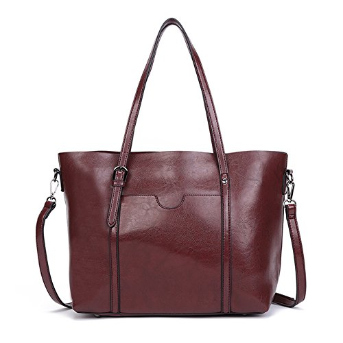 Dreubea Women's Soft Leather Handbag Big Capacity Tote Shoulder Crossbody Bag Upgraded Wine Red (Leather Tote Retro)