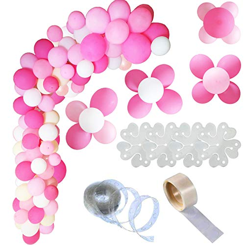 Tendela Balloon Garland kit 106 pcs 10 inch Pink and White Balloons Including Balloon Strip and Flowers Clips
