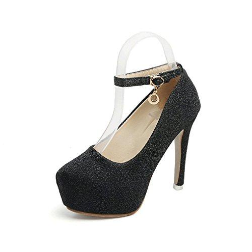Hebilla Zapatos Occidental Otoño y de Zapatos Delgado Cabeza de Redonda Mujer Alto LBDX Tacón Negro Tacón Primavera Estilo de de wapAq7