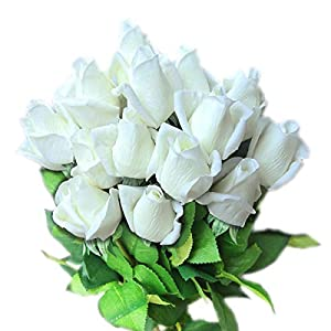 cn-Knight Artificial Flower 12pcs 22'' Artificial Rose Buds with Leaves Gel Coated Silk Flower for Wedding Bridal Bouquet Bridesmaid Home Décor Office Baby Shower Centerpiece,White 39