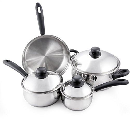 McSunley 504 Prep N cook 7 Piece Stainless Steel Cookware Set, Medium, Silver