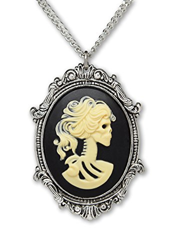 Cameo Necklace Black (Real Metal Gothic Lolita Skull Cameo in Pewter Frame Pendant Necklace)