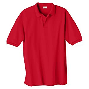 Hanes Men's 5.2 oz Hanes STEDMAN Blended Jersey Polo, M-Deep Red