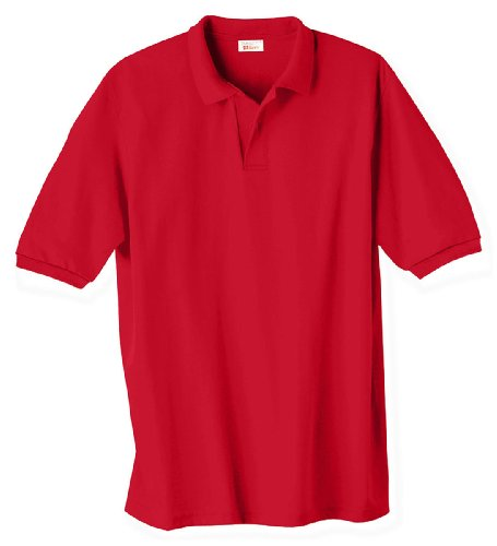 Men's 5.2 oz Hanes STEDMAN Blended Jersey Polo, Large, Deep - Shirt Jersey Blended Knit Sport