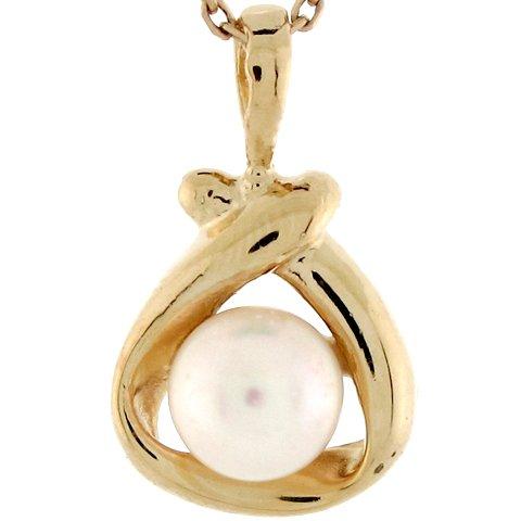 9ct Or Jaune Pendentif Femme Berceau Enveloppé D'une Perle Solitaire
