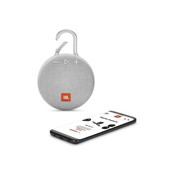 JBL Clip 3 - enceinte Bluetooth Portable avec Mousqueton - Étanchéité Ipx7 - Autonomie 10hrs - Qualité Audio JBL - Blanc 3
