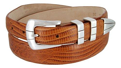 (Vince Italian Calfskin Leather Designer Golf Dress Belt for Men (36, Lizard Tan))