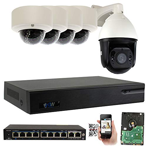 GW Security 9 Channel 4K NVR H.265 Surveillance System with 4 HD 5MP 1920p 2.8-12mm Varifocal Weatherproof PoE IP Dome Security Cameras, and 1 10X Zoom 5MP 1920p IP PTZ Camera