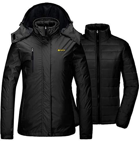 GEMYSE Women's Waterproof 3-in-1 Ski Snow Jacket Puffer Liner Insulated Winter Coat (Black,M) (Warmest Ski Jacket Women)