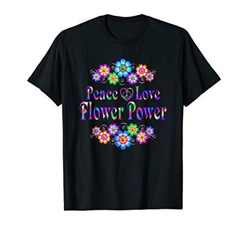 Womens Power Flower T-shirt - Pretty Peace Love Flower Power