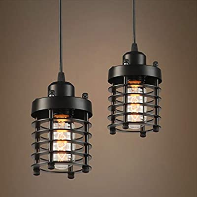 Licperron Industrial Pendant Light, Edison Hanging Caged Pendant Lighting Fixture Black Mini Pendant Light Vintage Ceiling Lights 2 Pack for Home Kitchen Lighting