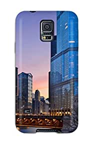 Top Quality Case Cover For Galaxy S5 Case With Nice Big Buildings And A Bridge Appearance
