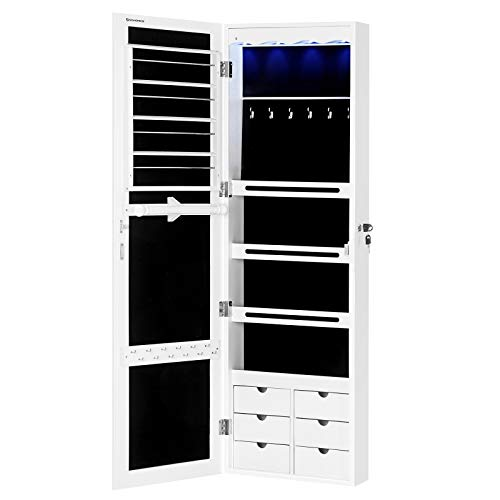 SONGMICS LED Jewelry Cabinet Armoire with 6 Drawers Lockable Door/Wall Mounted Jewelry - Doors Bathroom Closet Mirrored