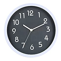 HITO Modern Colorful Silent Non-ticking Wall Clock- 10 Inches (Gray)