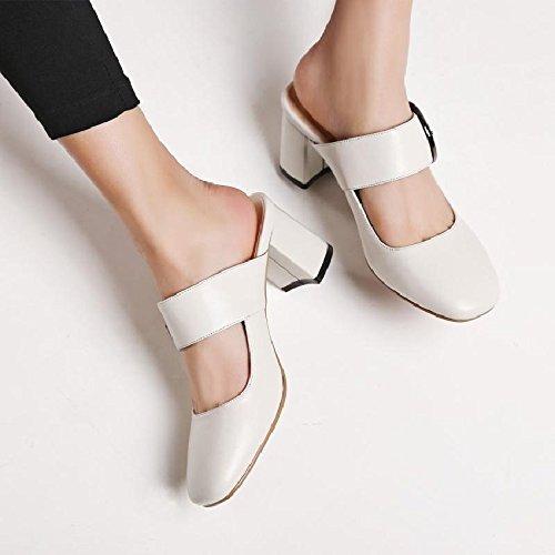 Qingchunhuangtang@ Mit High Heels Sandalen Sandalen Heels Hausschuhe Baotou Müßiggänger Dick mit Sandalen Apricot 0128f6