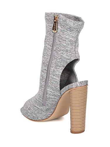 f9edd150708f CAPE ROBBIN Women Fabric Peep Toe Open Back Stacked Heel Bootie GI84 ...