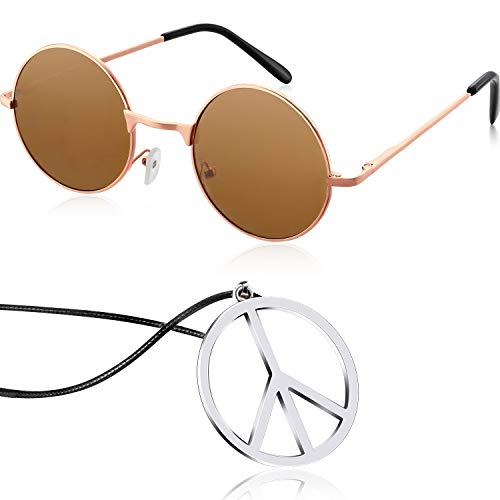 Tatuo Hippie Dressing Accessory Set Hippie Glasses and Peace Sign Necklace (Dark Brown) ()
