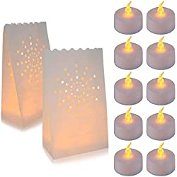 30 Flameless Tea Lights - Yellow Flickering LED Tealight Candles with 30 Bonus Luminary Bags