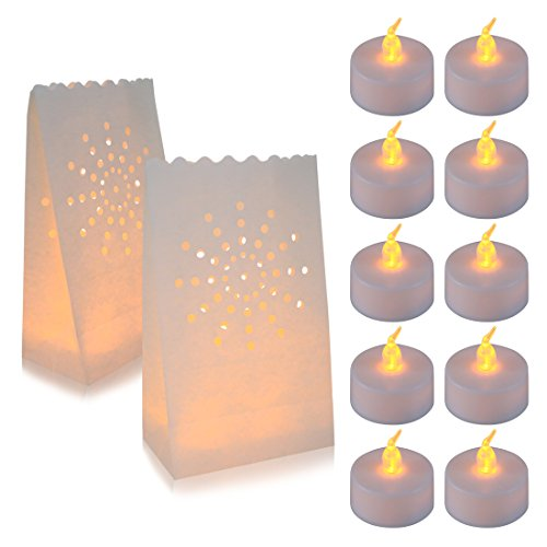 AceList 30 Set Luminaries Bag with Candles Light Flameless Luminara Tea Lights Luminary Candle Bags for Wedding Party Event -