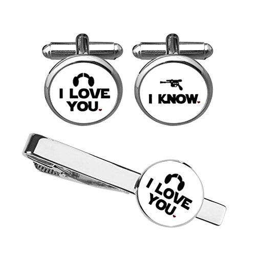 ZUNON I Love You I Know Cufflinks Superhero Wedding Anniversary Groom Husband Boyfriend Tie Bar Tacks Clip (White Set) ()