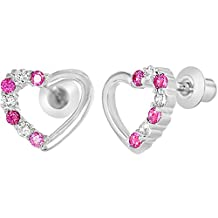 Rhodium Plated Clear & Pink Crystal Heart Screw Back Kids Baby Earrings