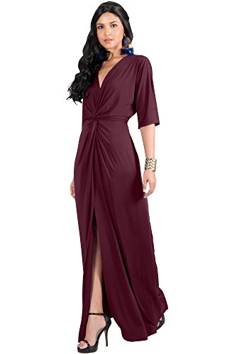 KOH KOH Womens Long Sexy V-Neck Short Sleeve Cocktail Evening Bridesmaid Wedding Party Slimming Casual Summer Maxi Dress Dresses Gown Gowns, Maroon Wine Red M 8-10 ()