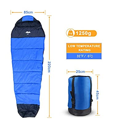 Sleeping bag, Lightweight Mummy Sleeping Bag w/ Compact Compression Sack for Adults, Washable & Waterproof for 3-4 Seasons Warm & Cool Weather Camping, Hiking, Backpacking & Outdoor Activities