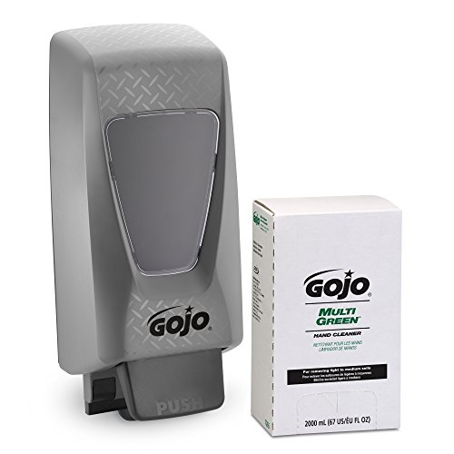 GOJO PRO TDX MULTI GREEN Hand Cleaner Starter Kit, 1 - 2000 mL Gel Style Hand Cleaner Refill + 1 – GOJO PRO TDX Grey Push-Style Dispenser - 7265-D2 ()