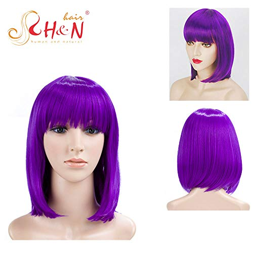 H&N Hair Purple Wigs for Women with Bangs 13