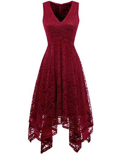 Spitzenkleid Dark bridesmay unregelmäßig Damen Brautjungfernkleider Red Cocktail Elegant BaBqR