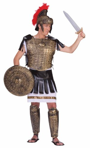 Roman Armor Set Costumes (Forum Roman Warrior Complete Costume Kit, Brown/Gold, Standard)