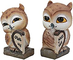 Valentines Kissing Love Owl Couple Decor Statue 2 Piece Set Owls With Heart Sign